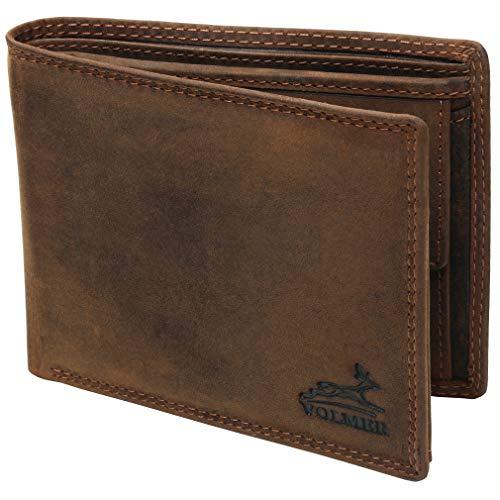 Fa.Volmer® Herren Leder Geldbörse braun mit RFID-Schutz Echtleder Geldbeutel Portemonnaie Used Look #VO19 (braun)