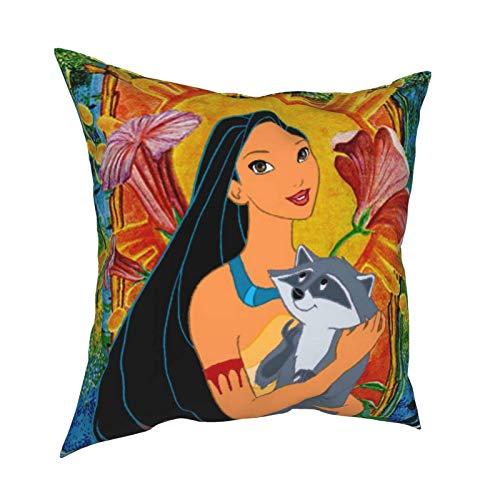 Anime Pocahontas and Meeko - Funda de almohada para sofá, sala de estar, respaldo, siesta, oficina, cojín lumbar, 45,7 x 45,7 cm