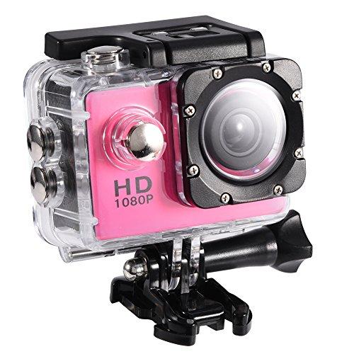 Lazmin 1080P Cámara Deportiva a Prueba de Agua, Mini DV Cámara de acción Videocámara USB 2 Pulgadas 12MP Cámara subacuática(Rosado)