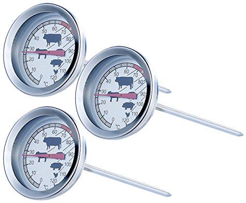 Rosenstein & Söhne Ofenthermometer: Analoges XL Fleisch- und Braten-Thermometer, 3er-Set (Thermometer Grill)