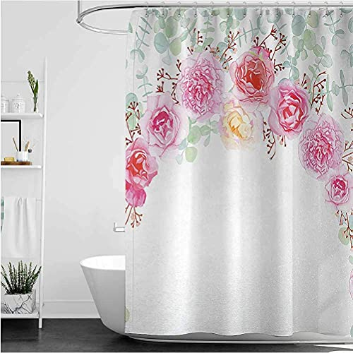 lovedomi Shabby Chic Printed Curtain Half Blossoming Romantic Bride Rose Peony Garland Female Floral Design Shower Curtain Polyester Fabric Shower Curtain 72x72 Inch Bathroom Accessory Set
