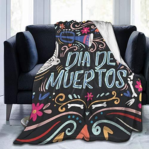 Alvaradod Manta de Tiro Personalizada,Dia De Muertos Day of The Dead Mexican Skull,Manta de Felpa Suave para sofá,Dormitorio,Viaje,Manta mullida 60'X80'