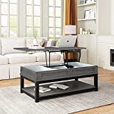 YEAR COLOR Lift Top Coffee Table Pop-Up Tabletop, Lift Tabletop Dining Table with Hidden Storage Compartment and Seperated Lower 3 Cube Open Shelves for Living Room/Reception Room/Office (Grey)