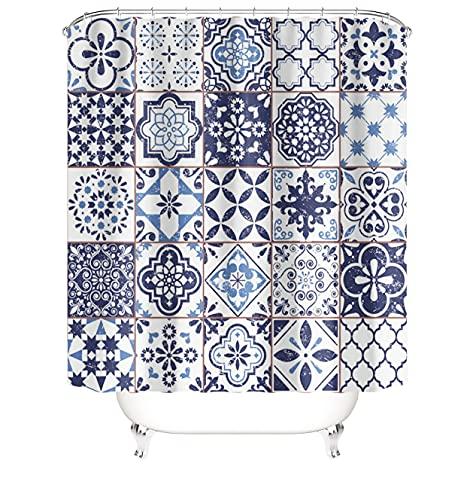 M&W DAS DESIGN Duschvorhang Raster Quadrate marokkanisch Patchwork Orient Flora Kunsthandwerk Vintage Retro Tunesisch Stielvoll Blumen Schimmelresistent inkl. 12 C-Ringe Gewicht unten 180x200cm(BxH)
