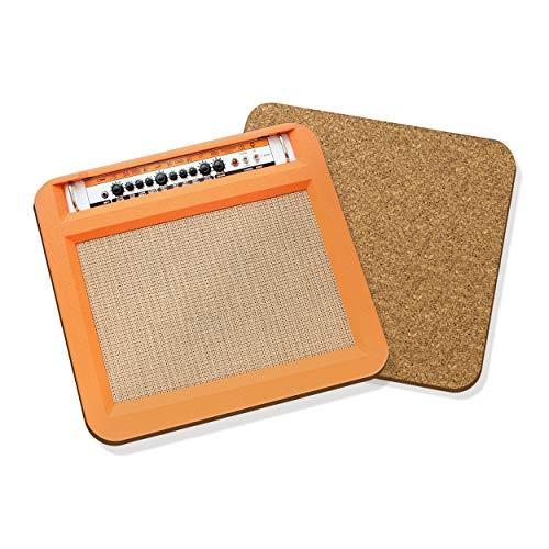 Música Amplificador #2 Posavasos Tapete Corcho Cuadrado Juego X4