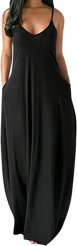 TEWWEY Womens Summer Spaghetti Strap Long Maxi Dresses Casual Plus Size Beach Boho Sundress Balloon Dress