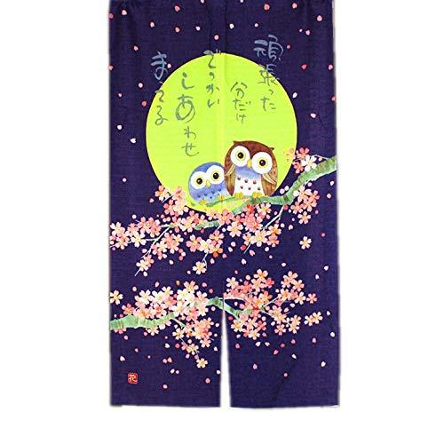 LIGICKY Japanische Stil Noren Lang Vorhang Tür Vorhang Tapisseri für die Heimtextilien Fliegen Insektenvorhang Raumteiler, Navy blau 85 x 150cm (Eule Kirsche Blühen unter Mond)