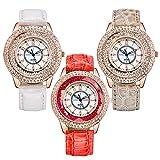 Souarts Damen Armbanduhr mit Beige Weiss Blau Lederarmband Treibsand Strass Zifferblatt Quarzuhr Analog mit Batterie (Weiss+Beige+Rot)