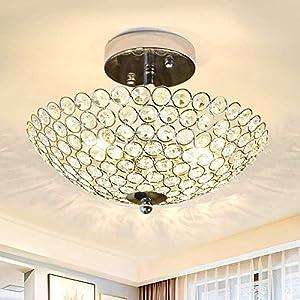 DLLT Modern Crystal Ceiling Light, 2-Light Crystal Chandelier Lighting Fixture, Semi Flush Mount for Bedroom, Entryway, Foyer, Hallway, Closet Room, Dining Room, Chrome Finish E12 Base