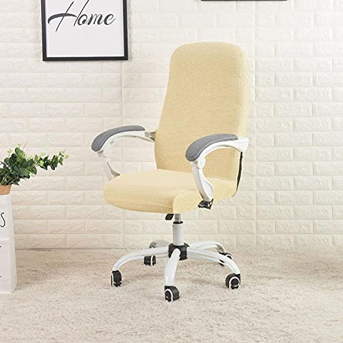 Cover for Computer Chair Water Resistant Jacquard Office Chair Slipcover Elastic for Home Armchair 1PC sillas de oficina Size M (Beige)