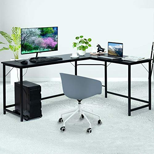 U.S. Spot! Gaoshi Computer Desk, 49'' Black Corner Table for Home/Office Laptop Gaming Wood & Steel Desks with CPU Stand, Workstation for Space-Saving Best Gifts