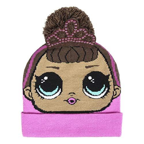 Lol Surprise Gorro con Aplicaciones LOL Cappello Invernale Pompon Punto, Multicolore (Rosa...