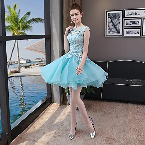 BINGQZ Jurk/Cocktailjurken/Casual Lichtblauw Korte Galajurk Formele Jurk Elegante Kant Cocktailjurken Vestidos de Coctel Sukienka Koktajlowa