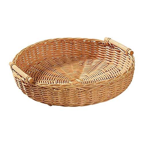 ZHENAO Round Natural Storage Hamper Wicker Bread Basket Kitchen Fruit Willow Woven Basket Child Toy Basket Handle Basket Basket for Cosmetics Handmade Carry Basket/S+L