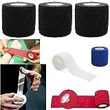 SAFETAPE Sport Tape Bendaggio coesivo Auto Aderente Benda coesiva flextape Supporto Sportivo per Crossfit Sollevamento Pesi hookgrip Pollice (Nero, 5 cm x 4,5 m (x3 Pezzi))