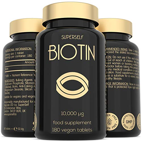 High Strength Biotin Tablets - 10000mcg Biotin Tablets for Hair Nails & Skin - 6 Months Supply 180 Capsules 10 000mcg - UK Made & Vegan - Natural Supplement B7 Vitamins for Men and Women