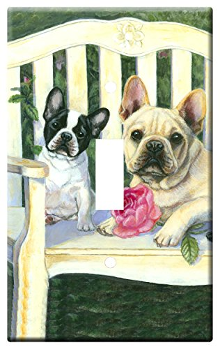 Gone Doggin French Bulldog 6A Single Toggle Light Switch Plate – Metal Wall Plate Frenchie Dog Art