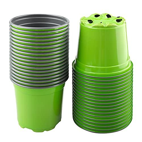 KINGLAKE 100 macetas de plástico verde de 10 cm, macetas de semillero para plantas suculentas, plantas, verduras y esquejes