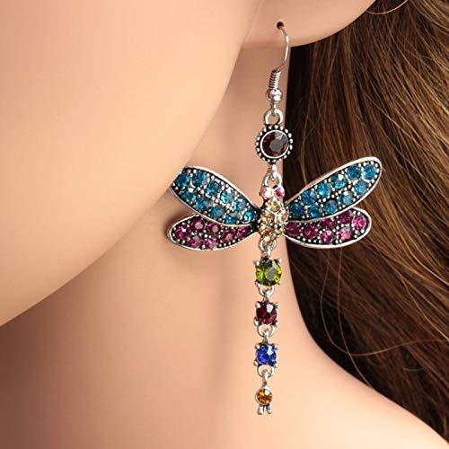 Herewegoo - Pendientes para Mujer con Forma de libélula y Gancho Chapado en Plata con Diamantes de imitación