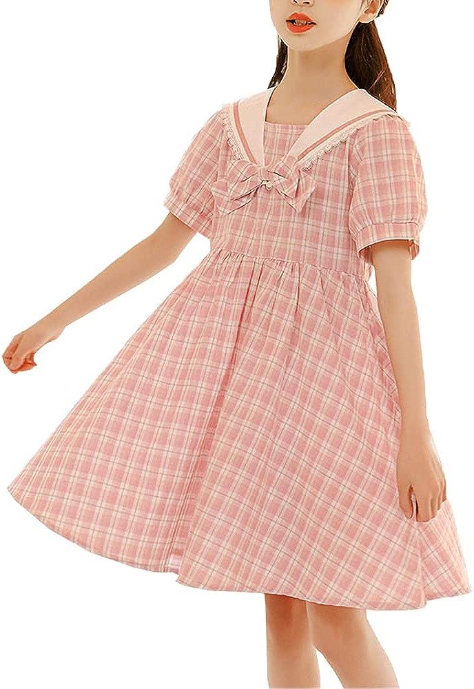 Girls' Korean Fashion Short Sleeve Plaid Pleated Dress Summer Kawaii Princess Lolita Dress for 5-14 Years