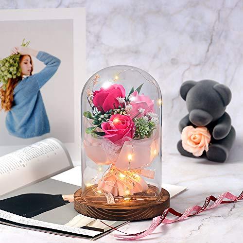 shirylzee La Bella e La Bestia Rosa Eterna Fiore Artificiale Luce di Vetro Rosa Cupola Luce a LED Lampada Decorazioni Regalo per San Valentino, Festa Mamma, Decorazioni per la Casa (Rosa Rossa)