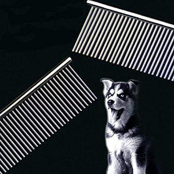 FFTONG Peigne en Acier Inoxydable pour Animal Domestique avec Dents arrondies en Acier Inoxydable pour enlever Les nœuds et Les nœuds, Outil de toilettage de Caniche, 7 1/2