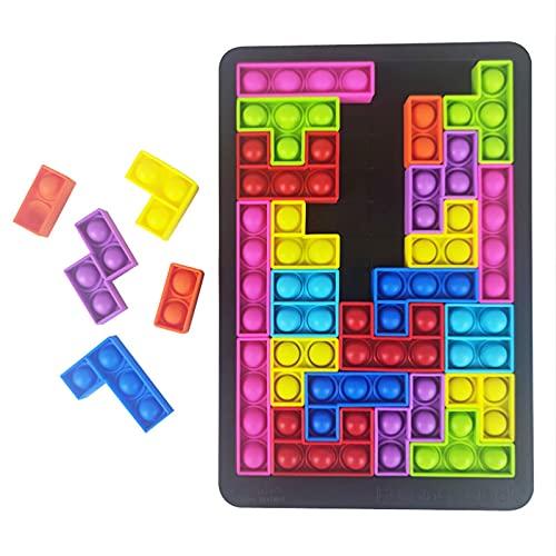 WXHXSRJ Tetris Jigsaw Puzzle Toys, Push Pop Bubble Sensory Fidget Toys, para aliviar el estrés, para niños y Adultos con Autismo