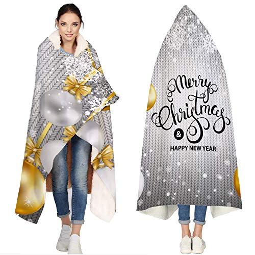AEMAPE Manta de Franela con Capucha, Bola de Navidad Tarjeta de bendición de Nieve de Invierno | Manta de Microfibra Super Suave para Vestir para sofá, sofá, 50 'x 60'