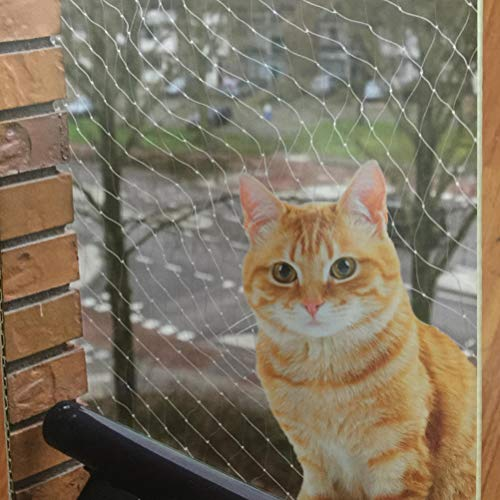 fansheng Pet Prime Cat Red de seguridad para balcón y ventana Red protectora transparente Anti-gato Red de protección para balcón, resistencia a los rayos UV, malla de seguridad para perros