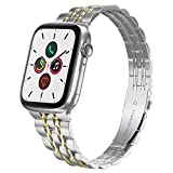 Compatible with Apple Watch Band 38mm 40mm Series 6 5 4 3 2 1, Yisdo Iwatch Bracelet Link Band Iphone Watch Band Stainless Steel for Women (38mm/40mm, Silver with Gold)
