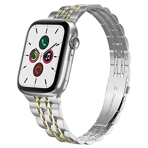 Compatible with Apple Watch Band 38mm 40mm Series 5 4 3 2 1, Yisdo Iwatch Bracelet Link Band Iphone Watch Band Stainless Steel for Women (38mm/40mm, Silver with Gold)
