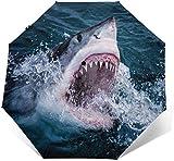 Sea Shark Automatik Dreifach Faltbarer Regenschirm Sonnenschirm, Sonnenschirm, Sonnenschirm, Außendruck