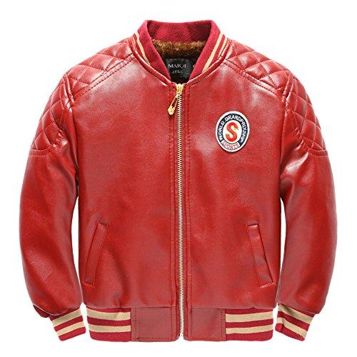 Jungen PU Lederjacke Mantel Kinder Biker Style Herbst Winter Jacke mit Samt Ausgekleidet Rot L