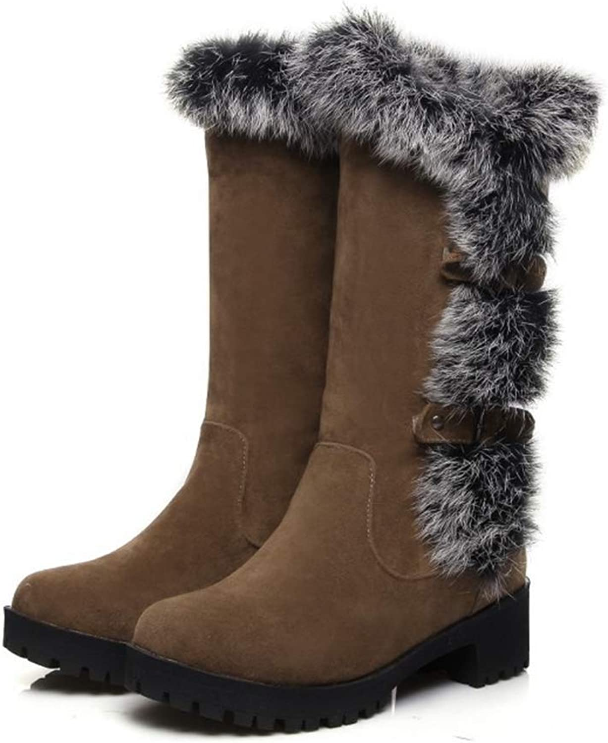 Beautiful - Fashion Women's Mid Calf Boots Buckle Strap Mid Heel Platform Round Toe Slip-On Fashion Warm Fur Lined Winter Snow Boots