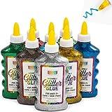 Glitzerkleber, Glitzer-Flaschen in 8 Farben (7,6 x 16,5 cm, 8 Stück)