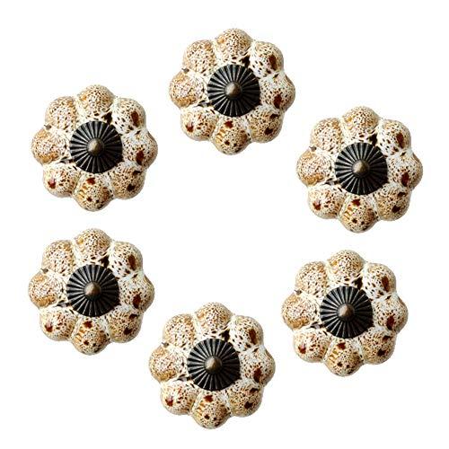 Lizipai 6 tiradores de puerta de calabaza, mango de gabinete pintado blanco, tiradores decorativos de cerámica esmaltados para armarios, baños, armarios, cajones (blanco)