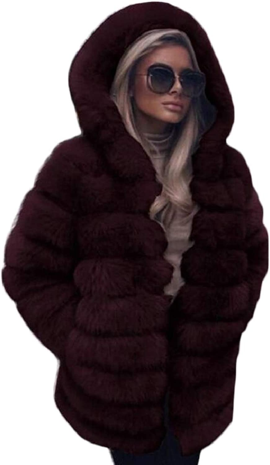 LKCENCA Womens Winter Warm Open Front Outwear Faux Fur Hoodie Jacket Coat