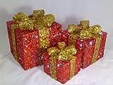 3 pacchi natalizi rosso oro, illuminati a LED in rattan