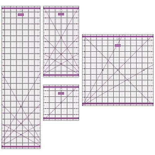 SEMPLIX Patchwork Lineal Set Inch (6x6 inch, 12x6 inch, 24x6,5 inch, 12,5x12,5 inch) (lila)