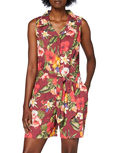 Queen Kerosin Damen Vintage Mambo Jumpsuit | Tropischer All-Over Print | Overall | Bindegurt Und Eingrifftaschen