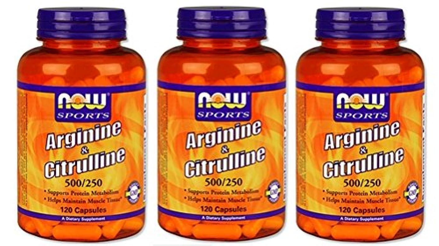チキン輪郭水素[海外直送品] 3本セット NOW FoodsLアルギニン 500mg & Lシトルリン 250mg 120粒入