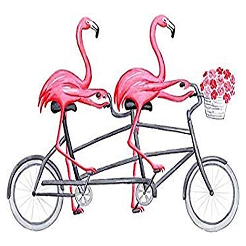 Pack of 2-3' Sticker - Pink Flamingos on Tandem Bicycle Printed Decal Sticker Graphic Car Laptop Trucks Waterbottles Lunch Box Skateboard