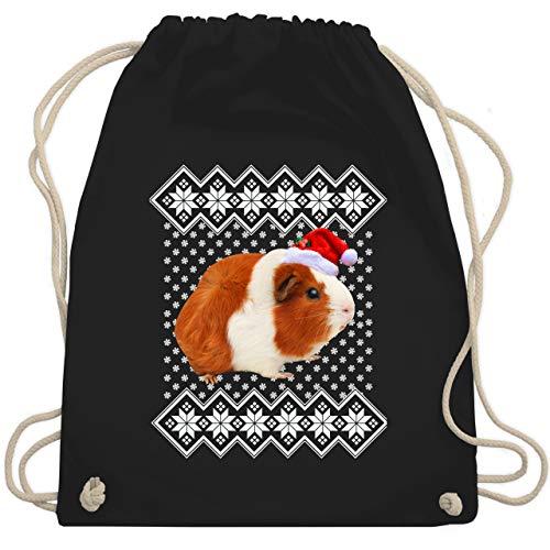 Shirtracer Weihnachten Kind - Meerschweinchen - Weihnachtsmuster - Unisize - Schwarz - Geschenk - WM110 - Turnbeutel und Stoffbeutel aus Baumwolle
