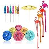 49 unids Flamingo agitadores de cóctel Swizzle Palos de paraguas de papel para bebidas, bodas, fiestas de verano, decoraciones de bebidas, accesorios de cóctel, colores mezclados