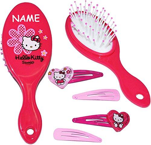 alles-meine.de GmbH Set: Haarbürste + 4 Stück Haarspangen -  Katze - Hello Kitty  - incl. Name - für Mädchen / Kinder - Schmuck Haarschmuck - Blumen rosa Accessoires Haarspange..