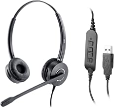 Office Computer USB Headset with Noise Cancelling Mic Cord UC Headset Optimized for Skype for Business,3CX, Softphone Lightweight Comfortable Binaural Headset for Call Center Office