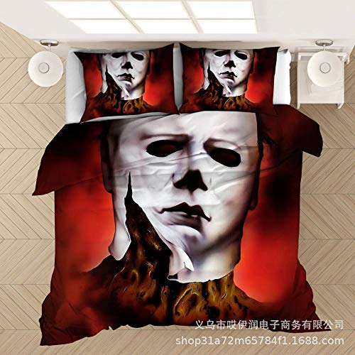 Juego de cama para adultos con impreBón digital 3D, funda de edredón y funda de almohada con patrón de Michael Myers, textiles para el hogar de tamañoqueen doble...