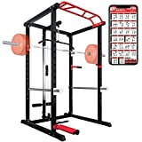 ER KANG Olympic Power Cage, 1000 lbs Light Commercial Weight Cage with LAT Pull-Down Pulley System, 360 Degree Landmine, Dip Bars and Other Attachments