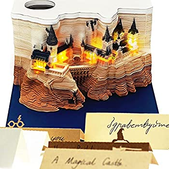 [ Lights Up! ] 3D Magic Castle Notepads with LEDs & Pen Holder & Dispenser Box Cute Memo Pads Funny Art Building Block Kawii Stickers Creative Sticky Notes for OfficeReading Room
