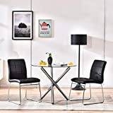 Modern Dining Table Chairs Set,Round Table with Clear Tempered Glass Top+2 Black Faux Leather Dining Chairs Set for 2 Person,Kitchen Dining Room Table and Chairs Set for Home(1 Table + 2 Black Chairs)